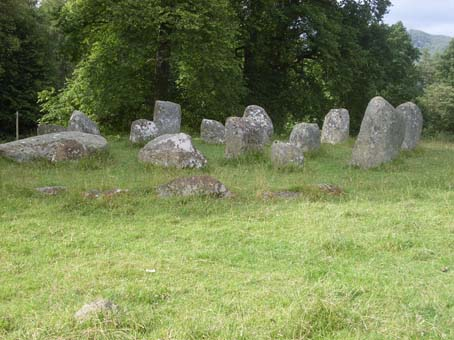 An ancient stone circle - a poor example of the preserved Henge in Glen Wheesht.